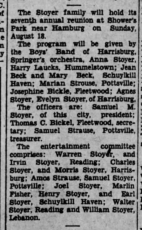 Stoyer Family Reunion 1929 -
