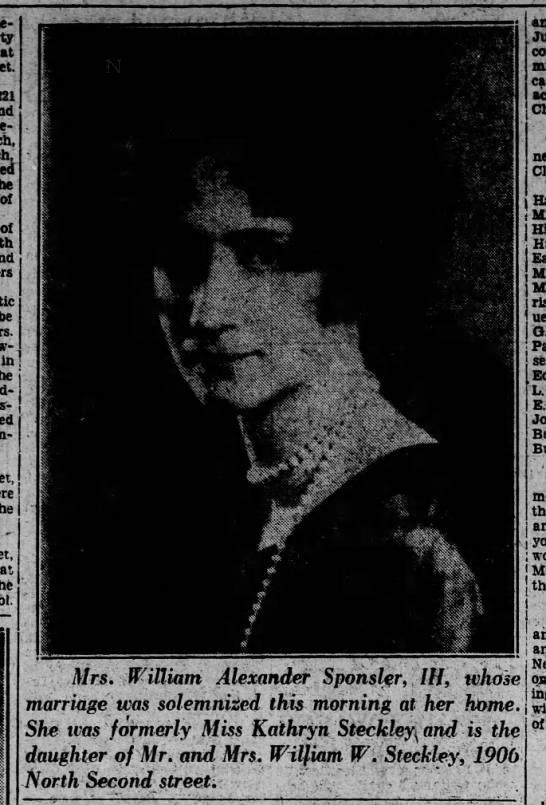 Mrs. William Alexander Sponsler, III, formerly Kathryn Steckley September 1929. -
