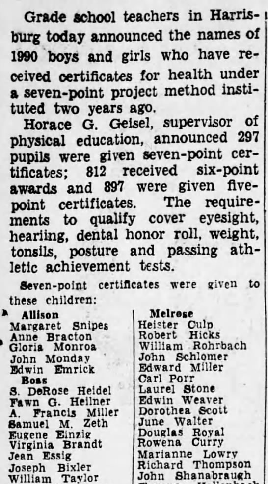 1934 Rowena Curry gets health award -