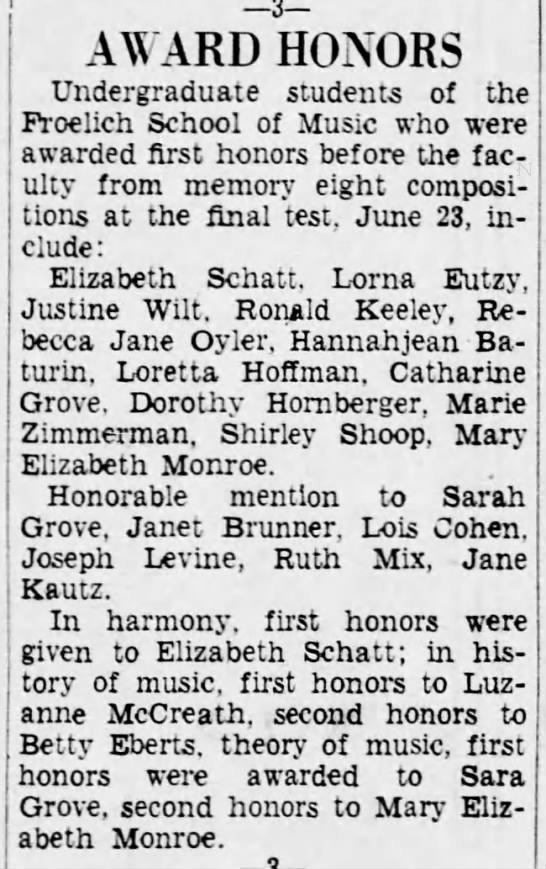 1934 Justine Wilt Froehlich honors -