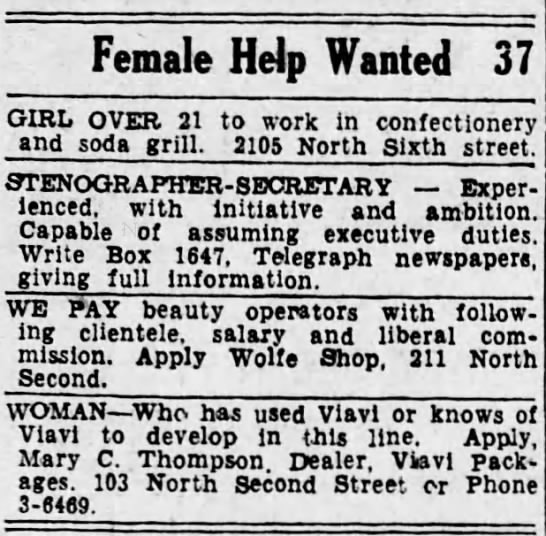 1935 Mary C Thompson's want ad -