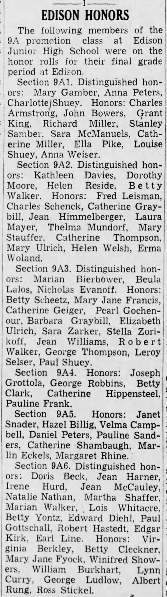1938 High Honors for Lynn Curry Jr 9A5 -