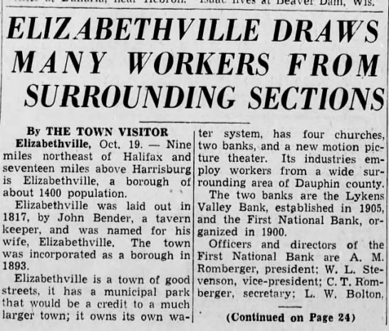 Elizabethville draws area workers. p1 1937 - ELI Z ABET HVILLE DRAWS MANY WORKERS FROM...
