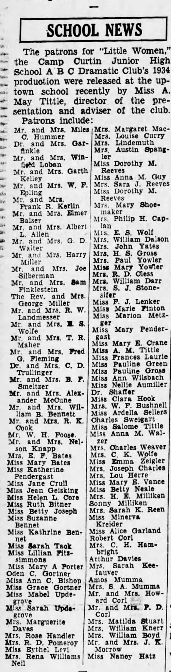 1934 Mrs Louise Curry local patron -