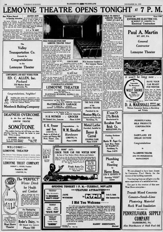Lemoyne Theater - 19361124 - Hbg Telegraph - pg.16 -