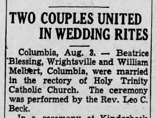 Beatrice Blessing weds-Harrisberg Telegraph-p.13-3 Aug 1938 -