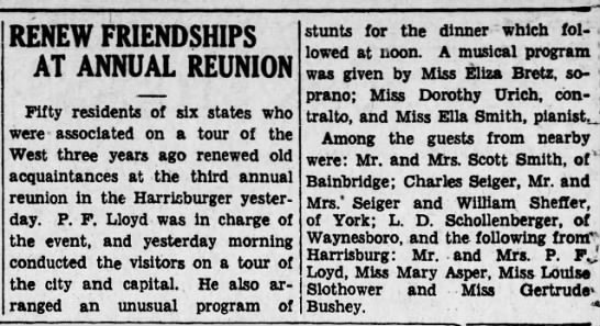 1930 Eliza Bretz sings for friendship reunion -