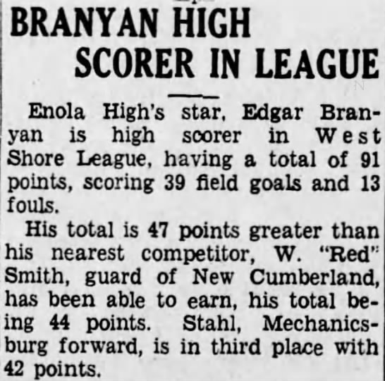 Branyan. E.A. BB scorer/attached to tree -