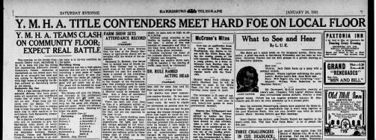 Allentown Jewish Community Center basketball to play Harrisburg, 24 Jan 1931 - HARRISBURG 2b TELEGRAPH SATURDAY EVENING...
