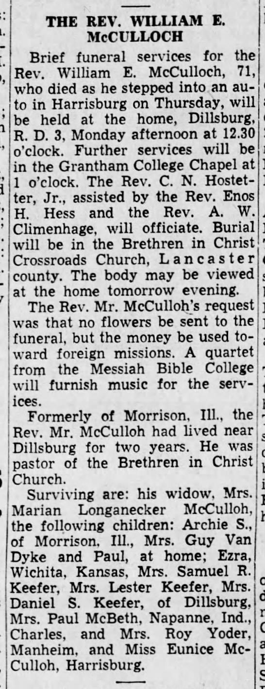 William E. McCulloh Obit -