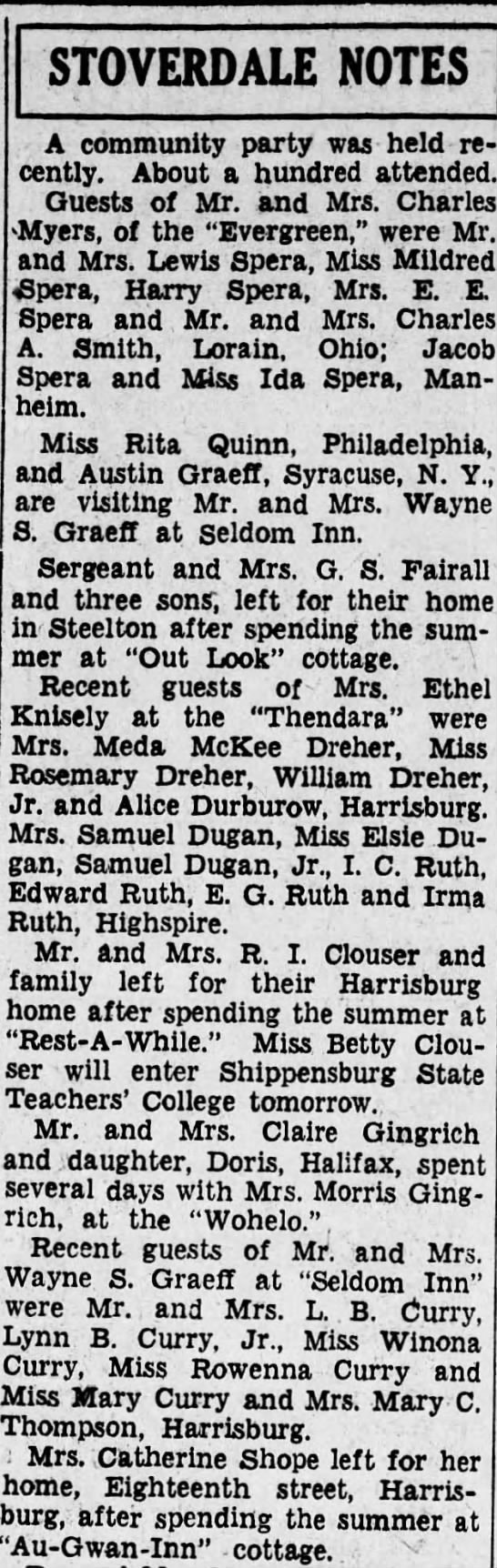 1931 Seldom Inn guests inc Curry fam w grandma Mary -