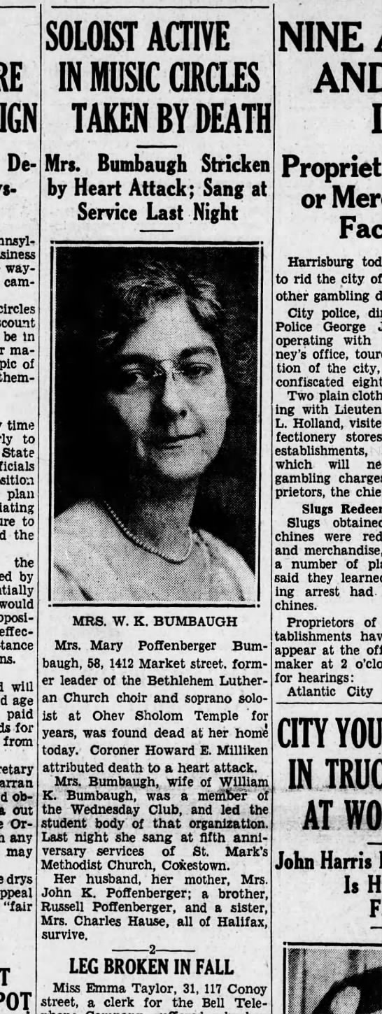 1934 February 2 Friday Mrs. Mary Bumbaugh -