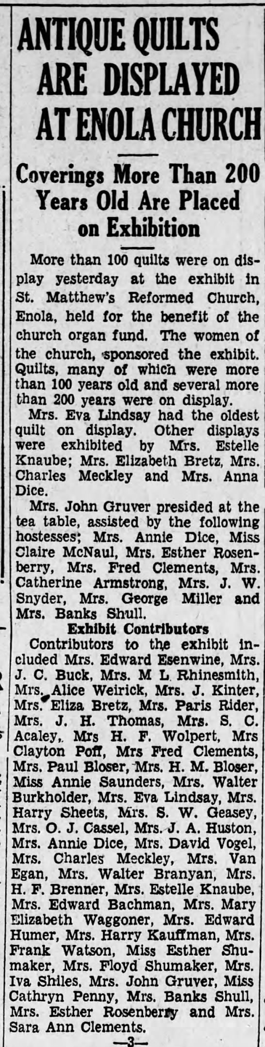 1934 Mrs Elizabeth Bretz and Mrs Eliza Bretz contribute quilts to show -