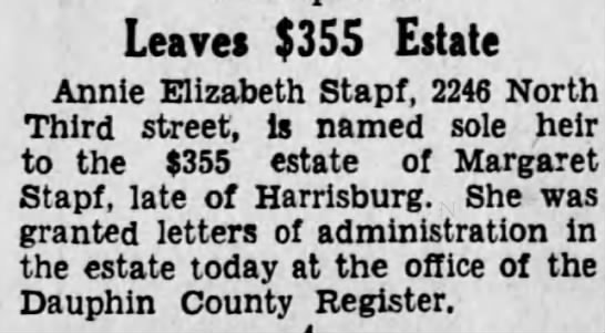 Estate of Margaret Stapf - Harrisburg Telegraph - May 1 1931 -