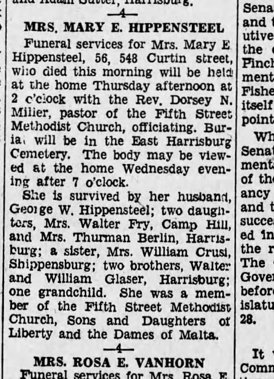 1931 May 18 Mary Glaser Hippensteel -