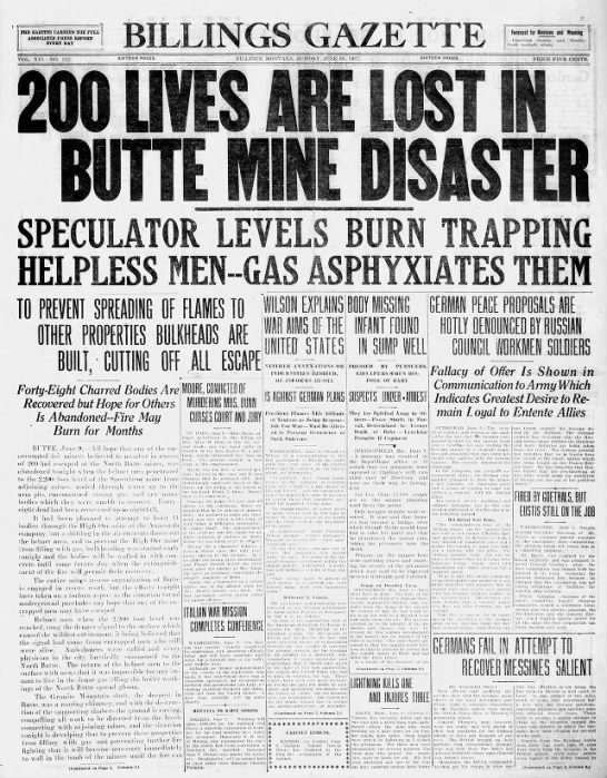 Butte Mine Disaster 1917 -