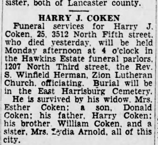 Harry Coken Obituary born 1908 -