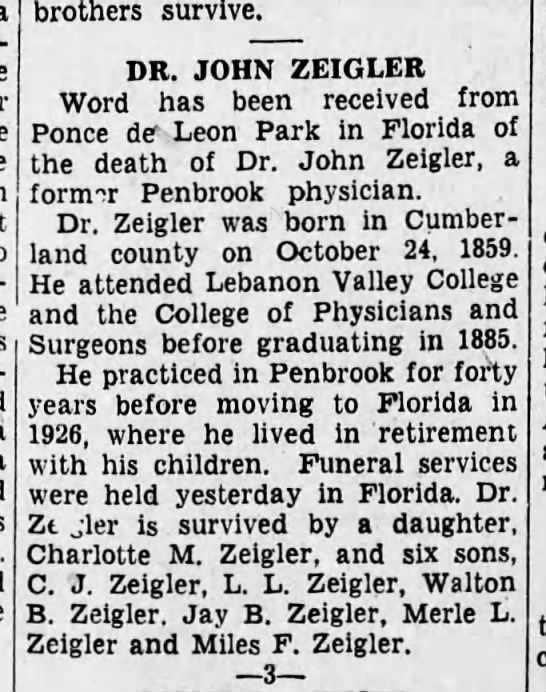 1931 July 1 Death of Dr. John Zeigler -