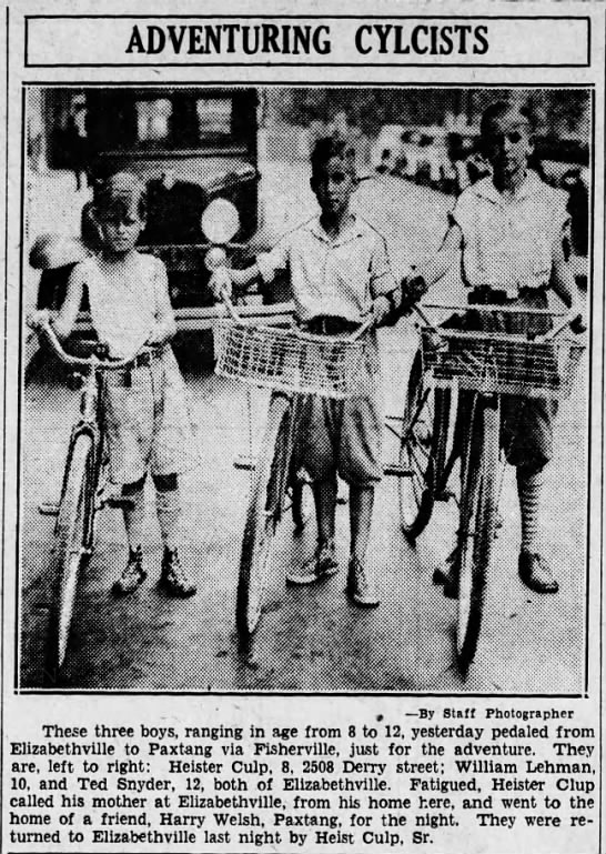Elizabethville cyclists. 1931 - ADVENTURING CYLCISTS t By Staff Photographer...