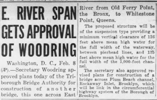 E. River Span Gets Approval of Woodring -