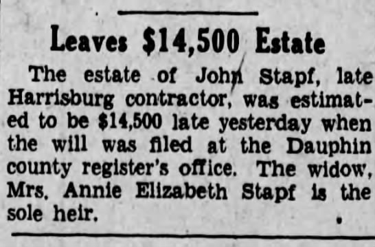 Estate of John Stapf - Harrisburg Telegraph - June 10 1930 -