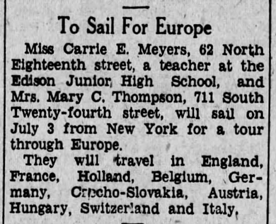 1930 Jun 19 Mary C Thompson sails for Europe July 3 -