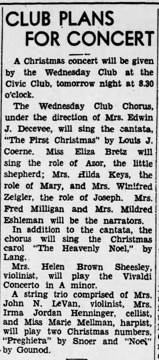 1934 Eliza Bretz of Wed Club is planned to sing role of Azor -