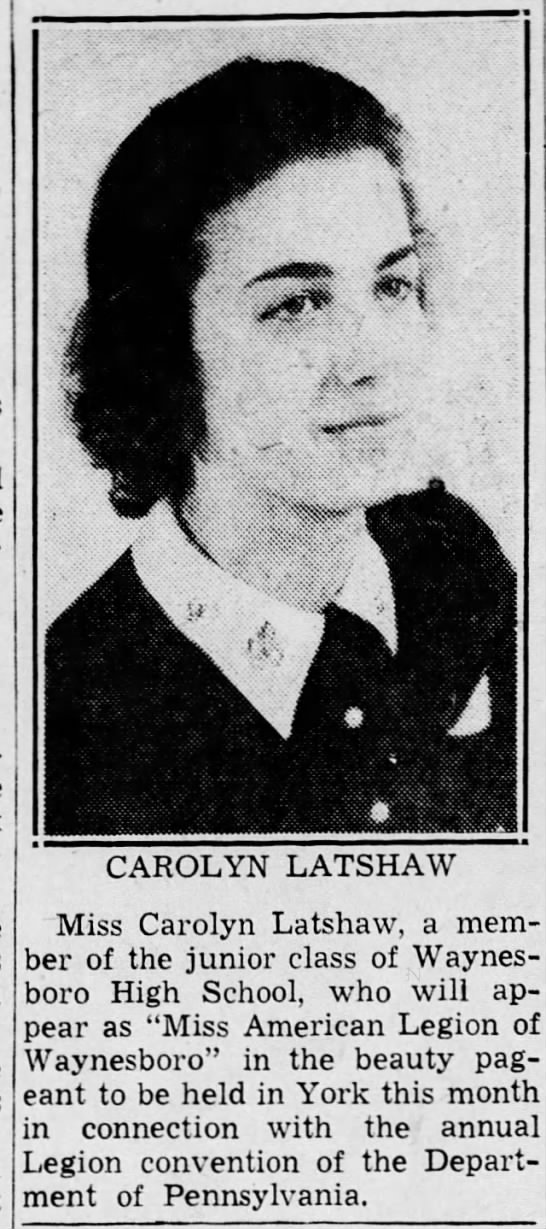- , , . t iir ' ' - - j CAROLYN LATSHAW Miss...