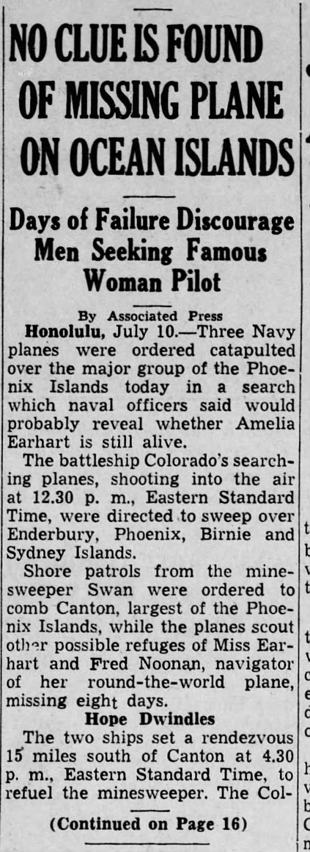 Amelia Earhart SearchHarrisburg TelegraphJuly 10, 1937 - Page 1 -