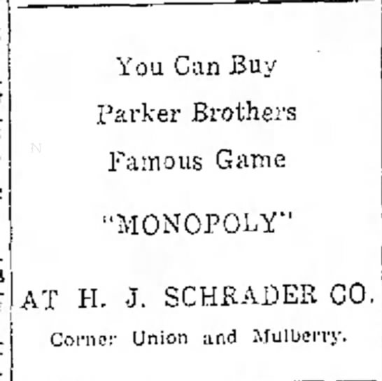 Parker Brothers' Game, Monopoly -
