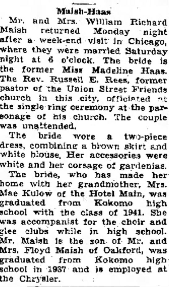Maish William R 1941 Jul 1 Wed -