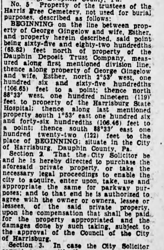 Harris Free Cemetery 1933for parkway -