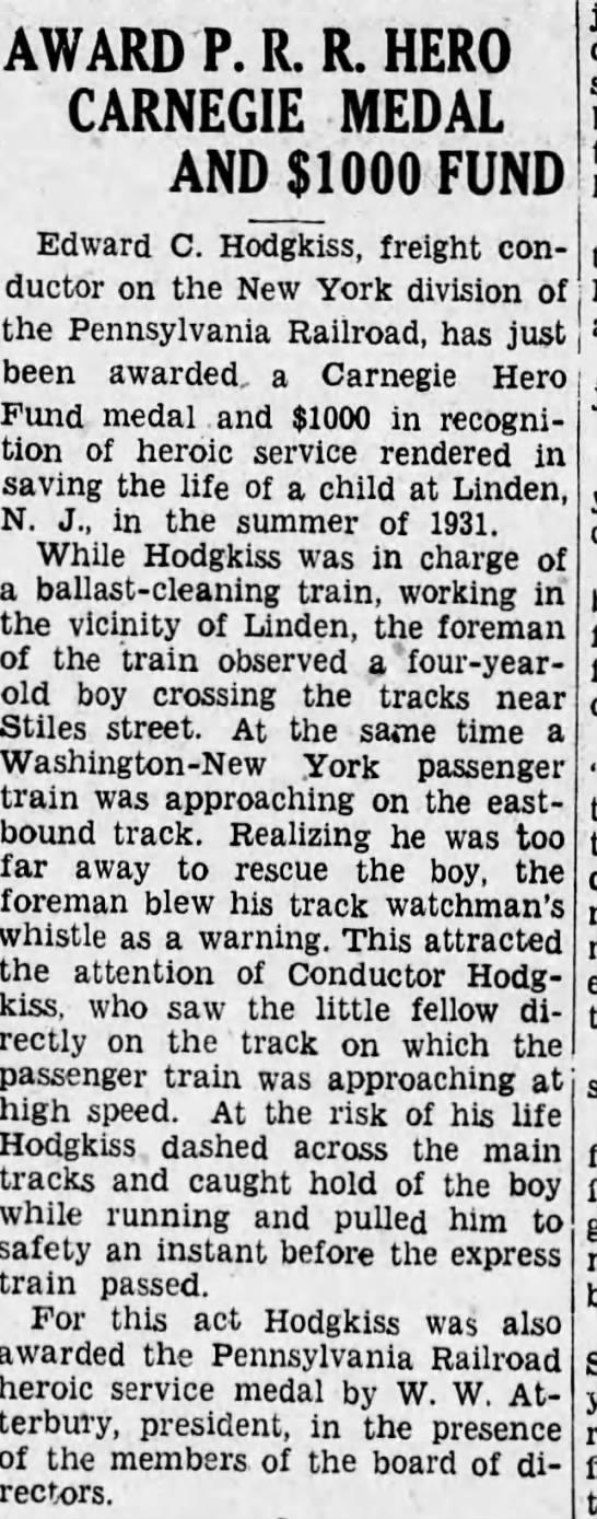 Edward C Hodgkiss wins award.  Harriburg Telegraph, 21 Nov 1933 -