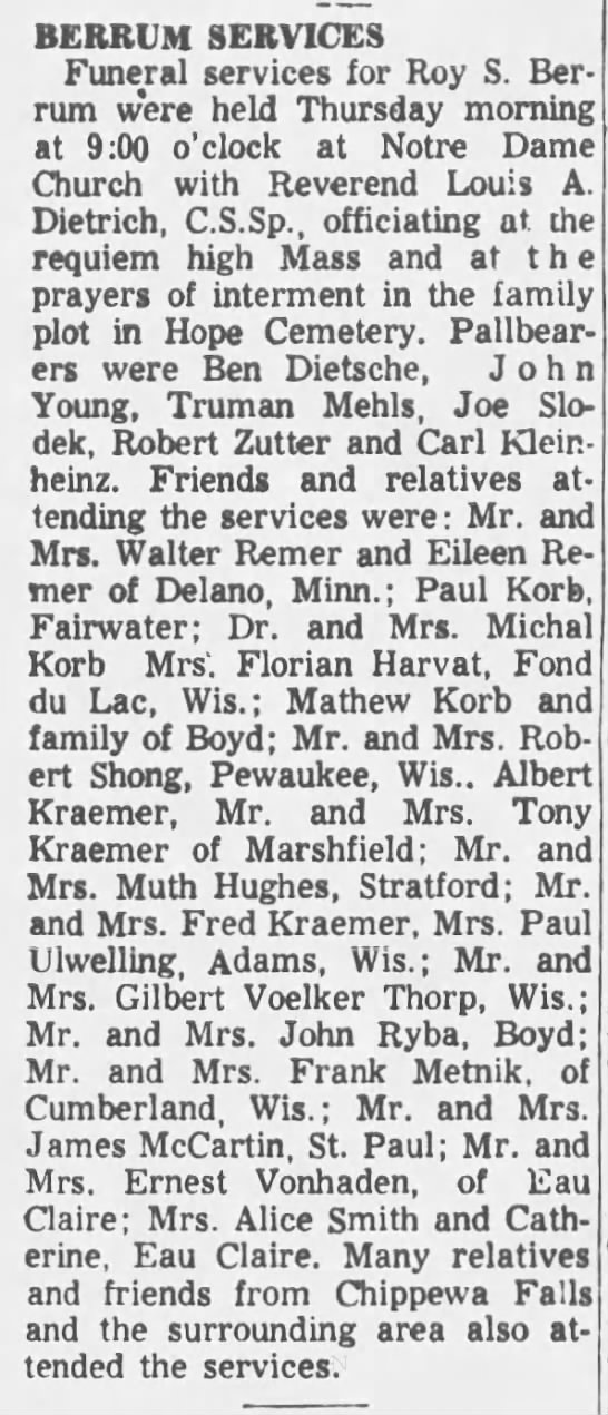Roy S. Berrum, obituary, 1958. -