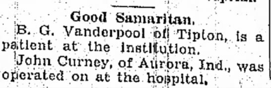 B G Vanderpool hospital 30 Sep 1930 -