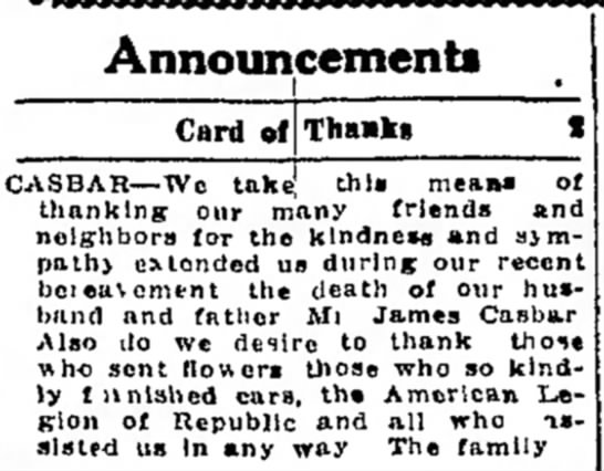card of thanks during recent bereavement of james casbar page 10 the daily courier march 29 1934 -