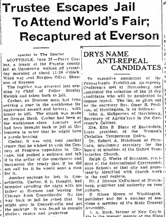 percy casbar recaptured page 3 the daily courier june 28 1933 -