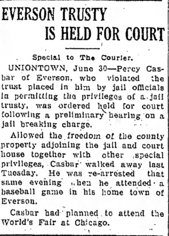 percy casbar arrested page 1 the daily courier june 30 1933 -