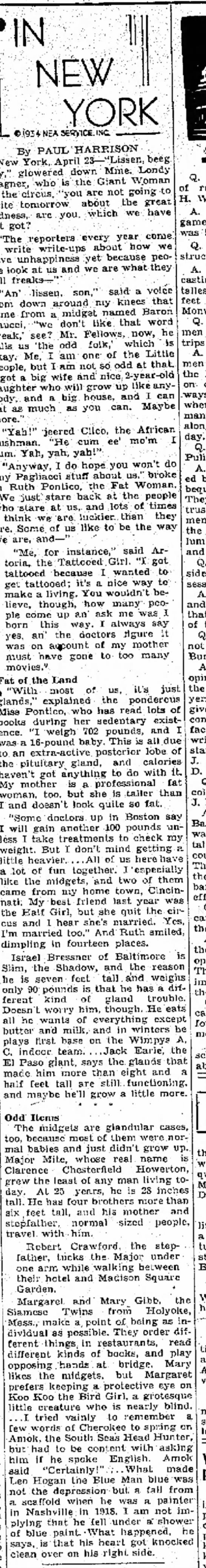 23Apr1934 Article about the odd folk in the circus -