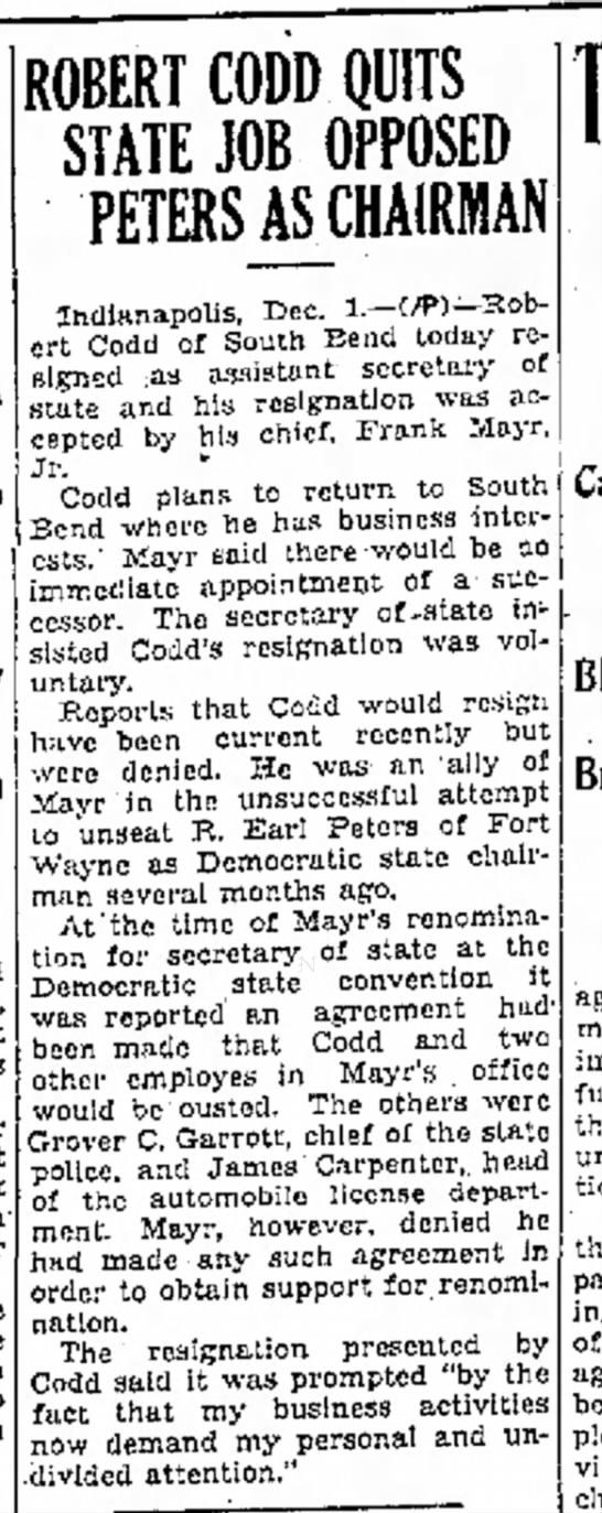 Robert Codd Resigns -
