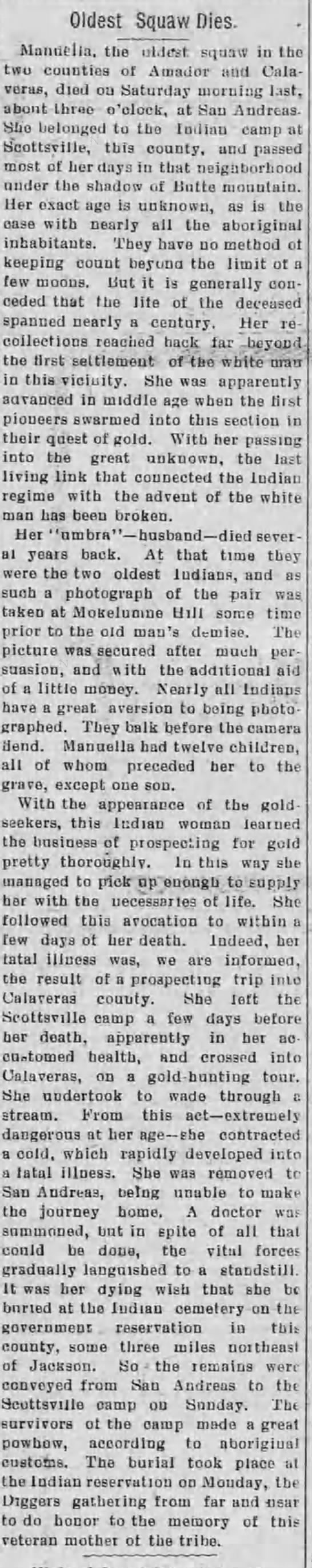 Old Indian dies, Manuella out lives 11 of her 12 children. May 1907 -