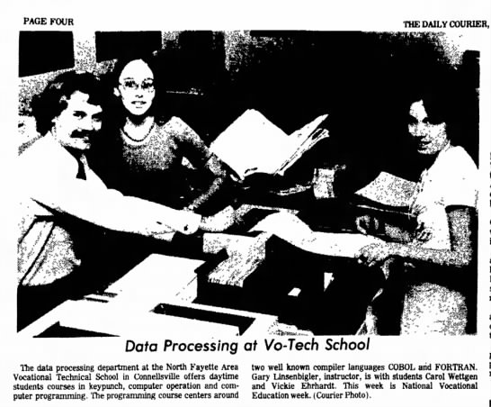 carol wettgen at vocational school page 4 the daily courier february 13 1976 -