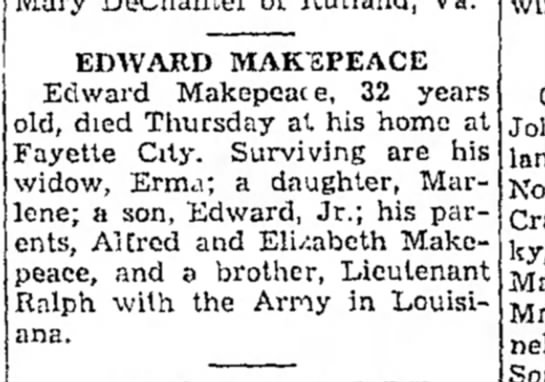 Edward Makepeace June 1945 obit Fayette City -