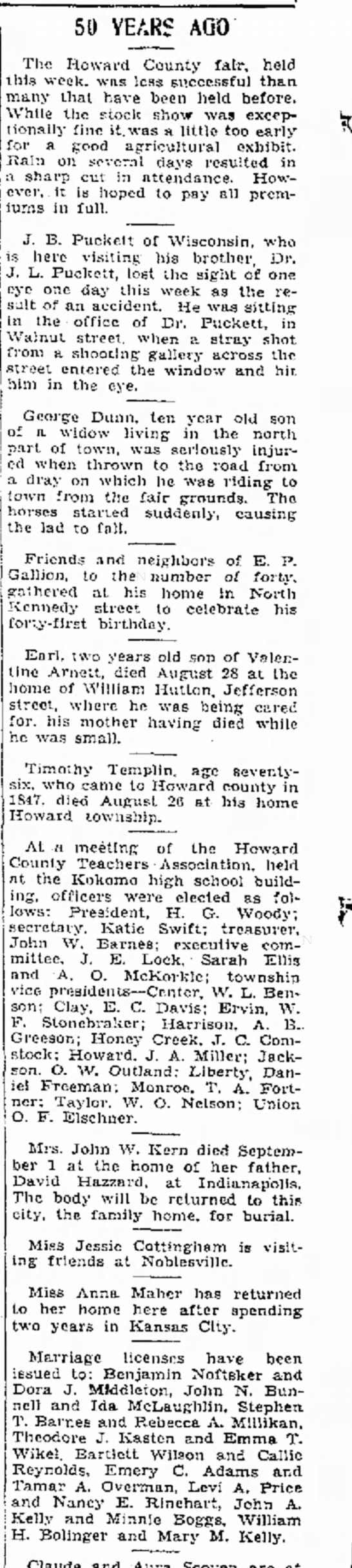 50 years ago in 1934-EmeryC. Adams I, marriage to Tamar Overman 1884. -