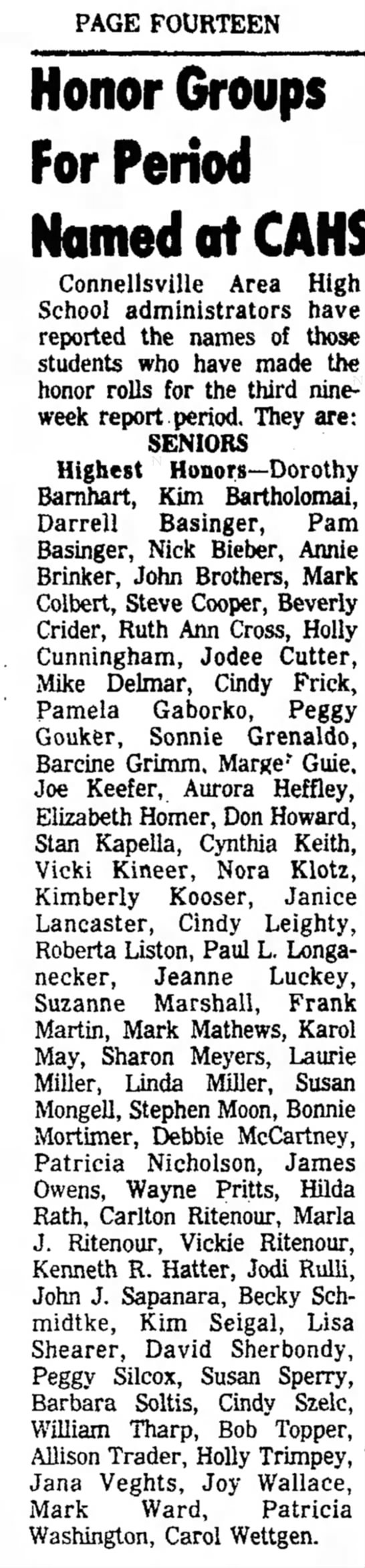 carol wettgen honor roll page 16 the daily courier april 21 1976 -