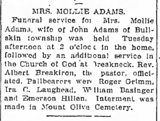 Mollie Burkett Adams obit 14 Oct 1926 -