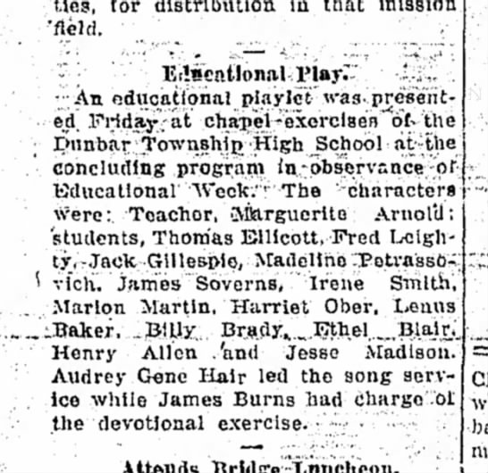 Daily Courier - 11/20/1926 Educational Play Dunbar township high school.  Jesse Madison -