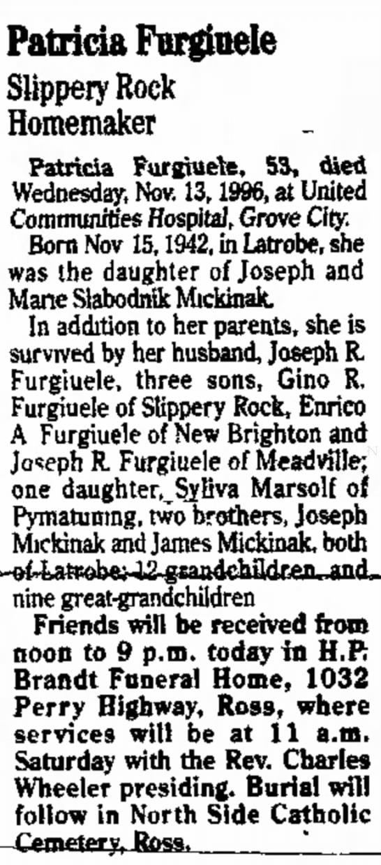 Patty Mickinak obituaryNovember 15 1996 -