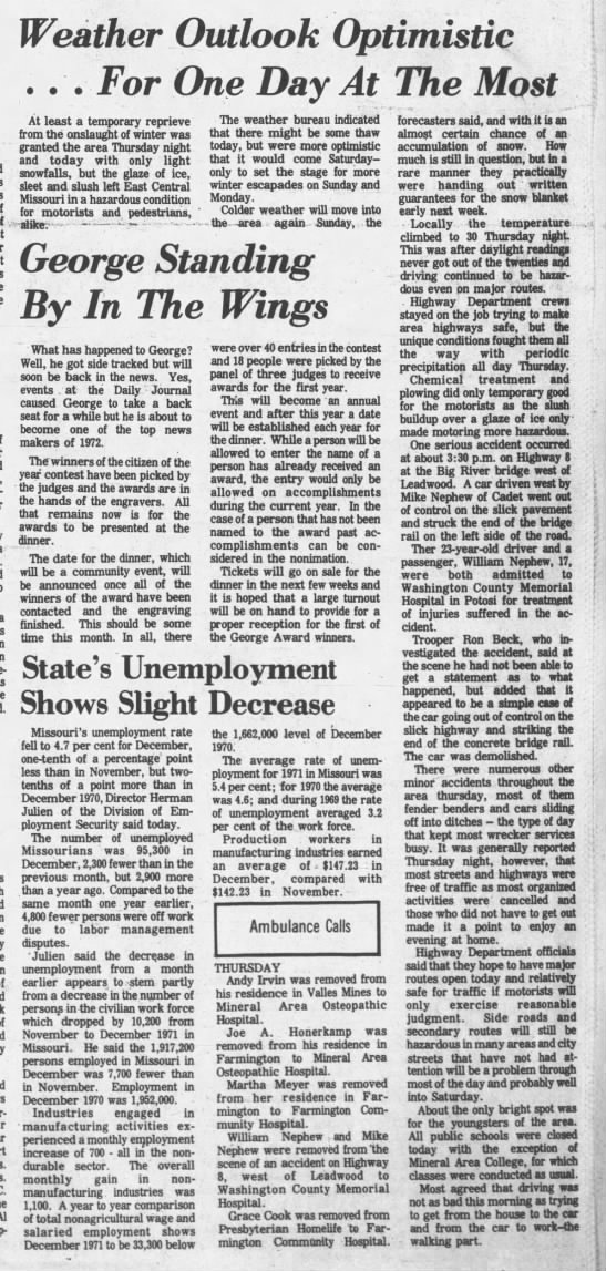 The Daily Journal (Flat River, Missouri) 28 Jan 1972, Fri. Page 1 -