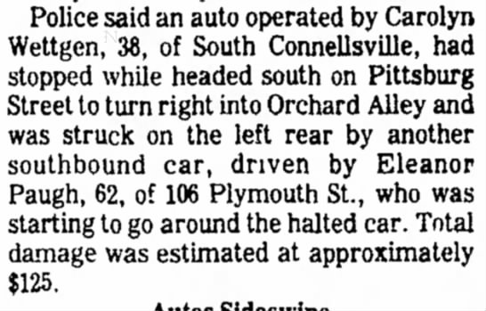 carolyn wettgen age 38 in auto accident page 3 the daily courier september 4 1976 -